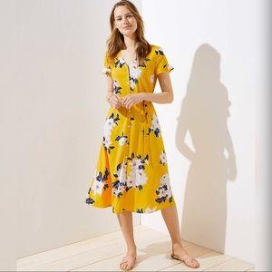 LOFT Bouquet Flutter Shirt Midi Dress